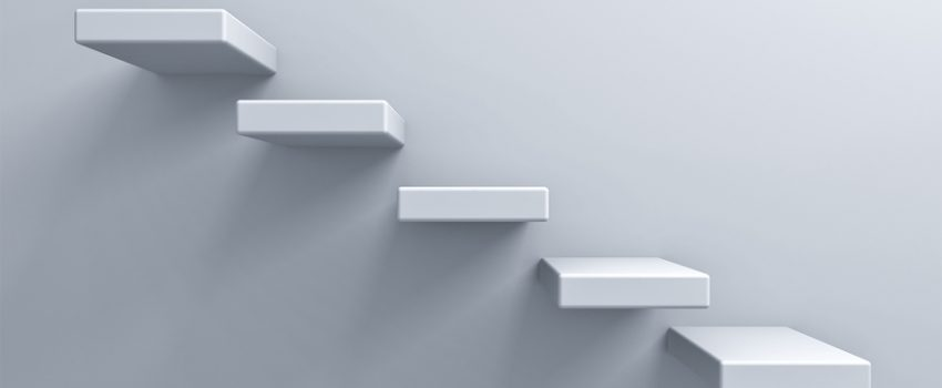 Abstract stairs or steps concept on white wall background with shadow 3D rendering