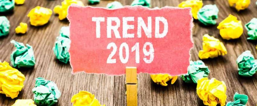 Word writing text Trend 2019. Business concept for things that is famous for short period of time in current year Clothespin holding pink note paper crumpled papers several tries mistakes.